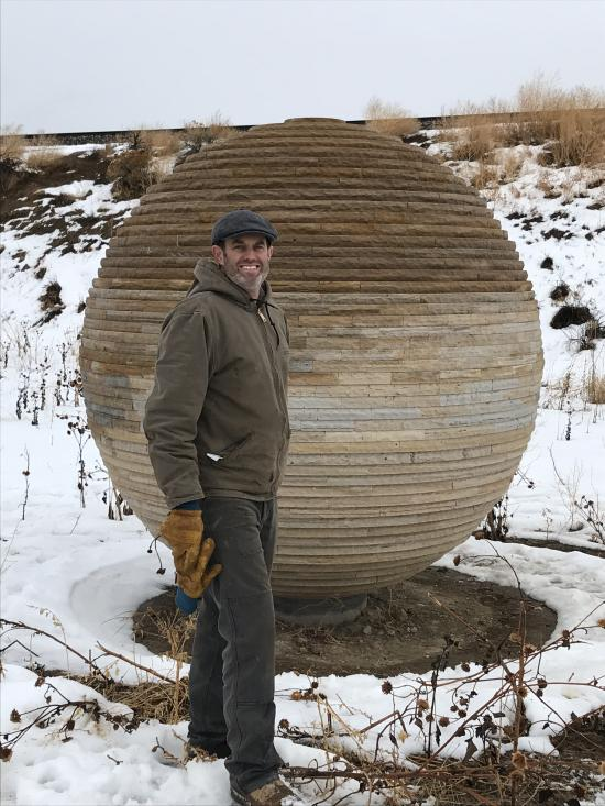 Stephen Shachtman with his sculpture Sphere
