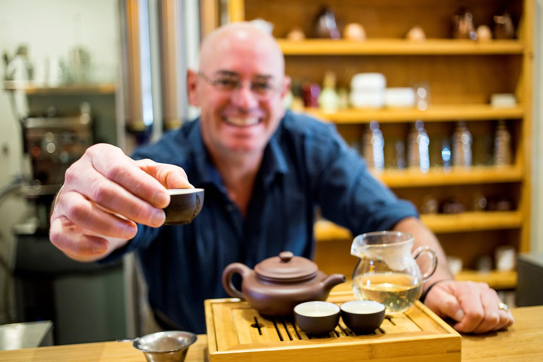 Spotlight image: Small Business Corner: George Grossman with Happy Lucky's Teahouse