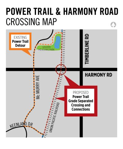 Map of proposed Power Trail/Harmony Road grade-separated crossing