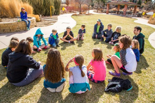 Group circle for learning at the gardens