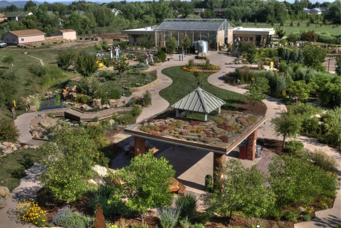 View of the Children's Garden and Visitor Center