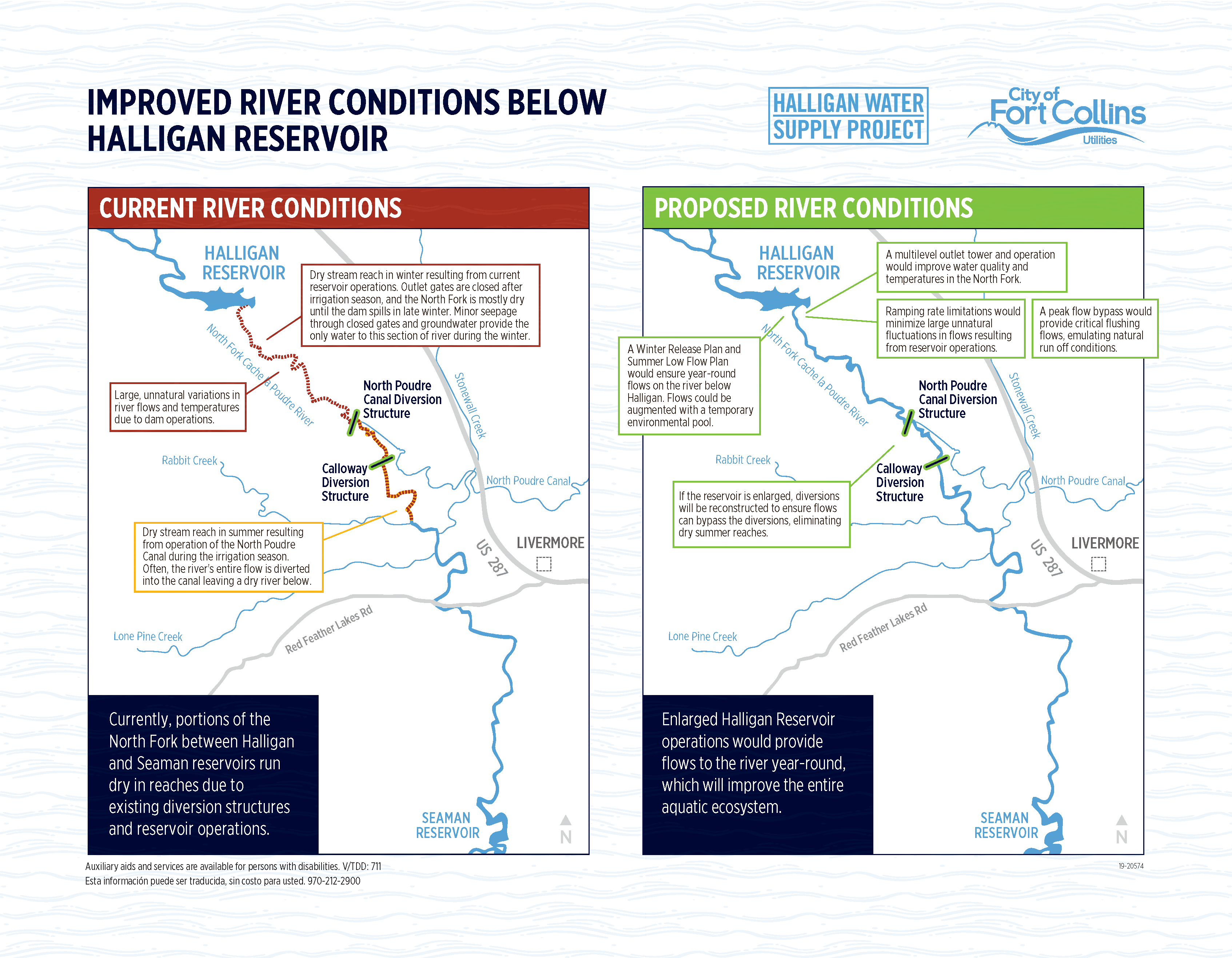 Map of Current and Proposed River Conditions Below Halligan Reservoir