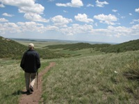 hiker at Soapstone Prairie