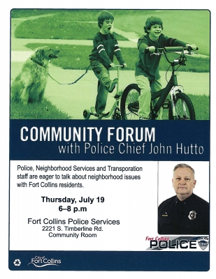 image for press release Community Forums with Police Chief John Hutto