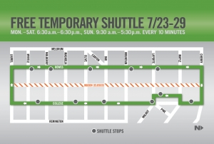 image for press release Free Shuttle Provided During Mason Street Closure July 23 - 29