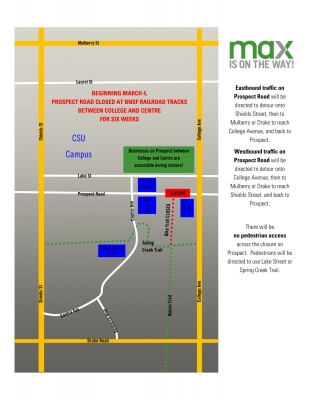 image for press release Prospect Road, West of College Avenue at BNSF Railroad Tracks, to Close March 4 - April 14