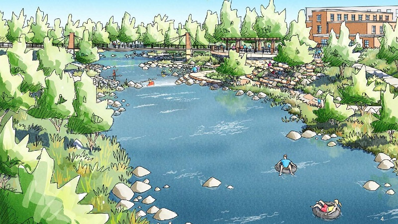 Conceptual illustration of the Poudre River Whitewater park showing kayakers, tubers, and steps to the water