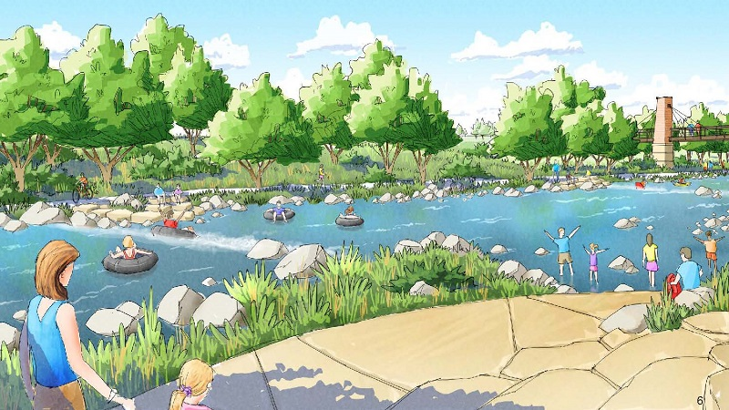 Conceptual illustration showing a walking path to the water with children playing in the shallow edge of the river