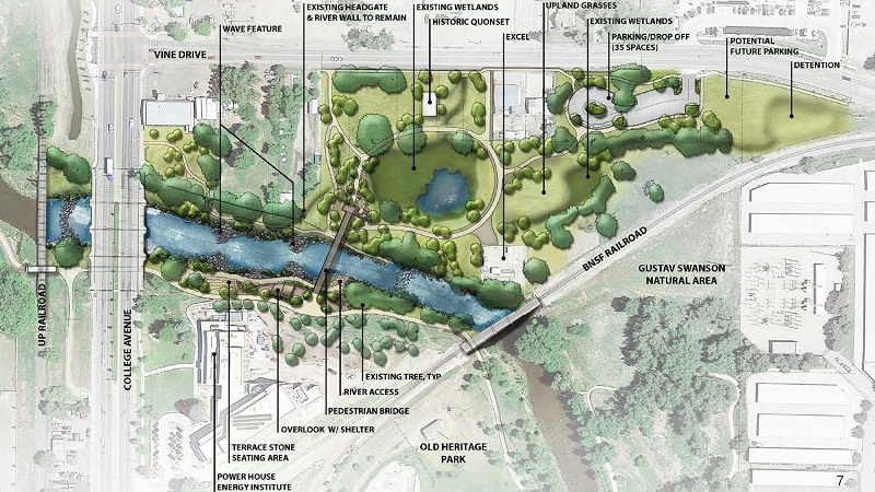 Overhead illustration of proposed whitewater park construction