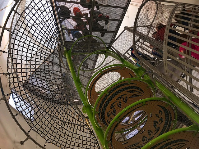 Spiral staircase leading to slide