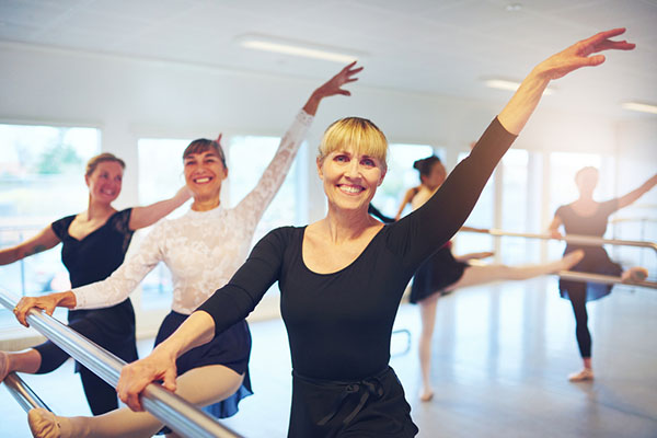group doing ballet in studio