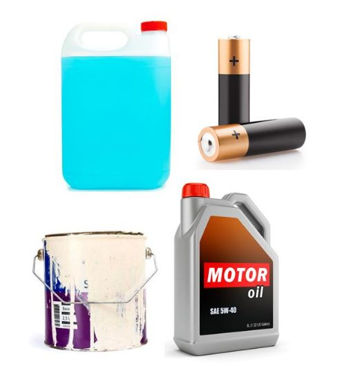 Antifreeze, Batteries, Paint, Motor Oil