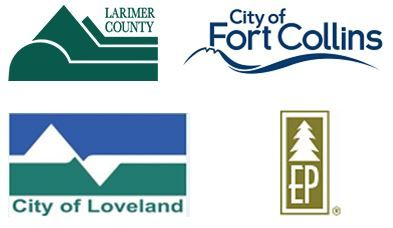 Logos for Larimer County, City of Fort Collins, City of Loveland, and Estes Park