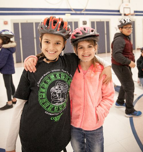 Bike-ped safety education during PE at Irish Elementary