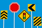 Illustrations of various traffic signs