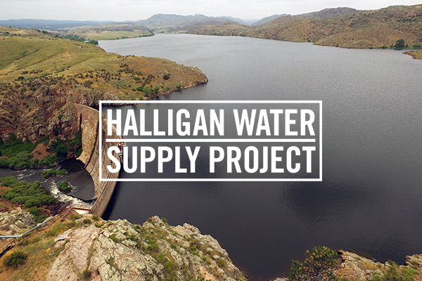 Image of Halligan Reservoir overlaid with the Halligan Water Supply Project logo