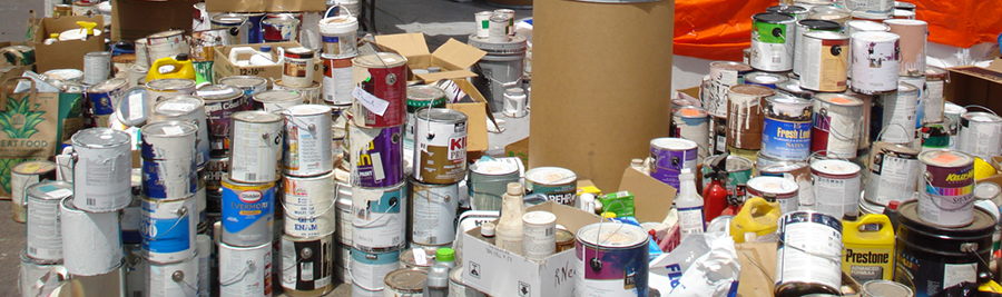 Stack of hazardous waste products