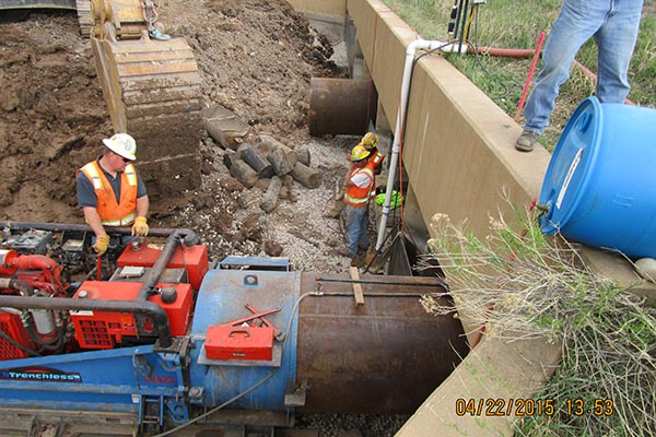 Boring during the Northeast College Corridor Outfall Project