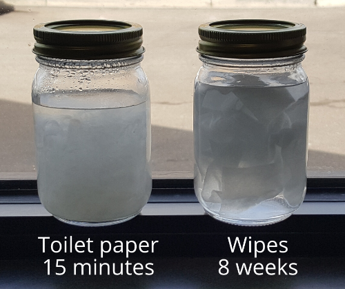 Toilet paper dissolved in water after 15 minutes and wipes undissolved in water after two weeks.