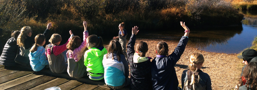 Students learning about the river on a watershed field trip.